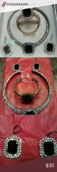 Choker Necklace, Earrings & Bracelet. NWT. Sassy yet classy looking 4 piece set. Have a little Bling in your classy look for the evening. Silver and black. Jewelry Necklaces
