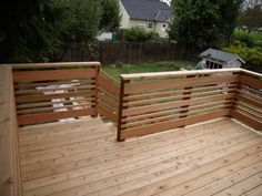 Deck railing isn't just a safety function. It can include a stunning visual to mount a decked area or porch. These 36 deck railing ideas reveal you exactly how it's done! Horizontal Deck Railing, Wood Deck Railing, Deck Railing Design, Fence Design, Stair Railing, Deck Railing Ideas Diy, Patio Stairs, Brick Fence, Pallet Fence