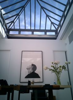 Skylight in Phillip's office - Studio All Day Glass Roof Extension, House Extension Design, Best Home Theater, Home Theater Rooms, Wallpaper Ceiling, Outdoor Pergola, Outdoor Rooms, Ceiling Detail, Grand Homes