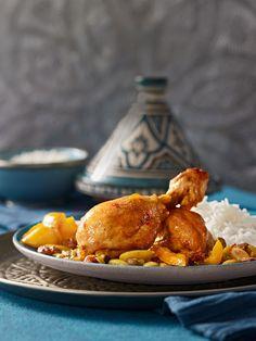 Hähnchen - Tajine mit Huhn, Zwiebeln, Paprika, Mandeln, Chili, Ingwer und Honig