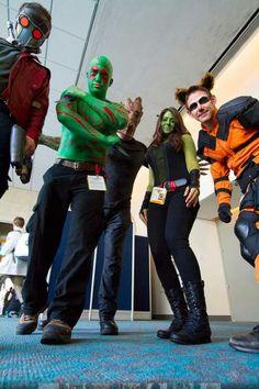 Guardians of the Galaxy cosplay (l-r): Star-Lord, Drax, Groot, Gamora, Rocket