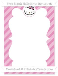 Free Pastel Bubblegum Pink Diagonal Striped Blank Hello Kitty Invitation