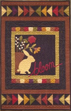 Primitive Folk Art Wall Quilt Pattern:  Bloom  [I could flip the center 90 degrees and use as a  runner]