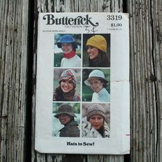 Butterick 3319 1970s 70s Hats Vintage Sewing by EleanorMeriwether