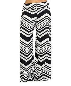 Size 3X Black & White Chevron Palazzo Pants