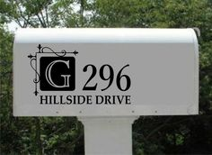 Vinyl Wall Lettering Custom Mail Box Door Address Decal Hanging Square Initial Monogram