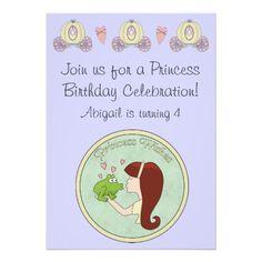 Red Hair Princess, Frog  Unicorn Birthday Invite