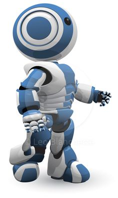 A blue and white robot vector derivative walking forward in determination. Or maybe he has just come off the assembly…