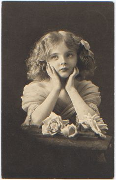 vintage postcard girl with roses