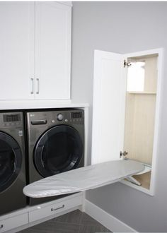 Fold out ironing board in laundry room- be sure to have an electrical outlet nearby.
