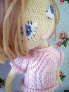 Knitted doll's clothes - Dot babe Knitting Pattern no.7 - cute pink 't' and lacey muffler by knittedbabe on Etsy https://www.etsy.com/listing/94706039/knitted-dolls-clothes-dot-babe-knitting