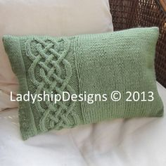 knit pattern pdf Celtic knot cable knit pillow cover in 4 by LadyshipDesigns | Etsy