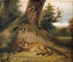 ✨ Unbekannter Künstler - Schlafender Fuchs, 19. Jh., Öl auf Papier, 19,4 x 22,9 cm