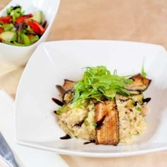 A creamy vegan Risotto made with Zucchini & Mushrooms