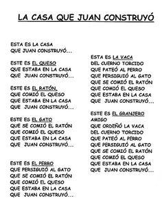 Spanish story for kids. la-casa-que-juan-construyó-cuentos acumulativos Preschool Spanish, Preschool Songs, Spanish Classroom, Teaching Spanish, Spanish Songs, Spanish Grammar, Spanish Lessons, Class Activities, Writing Activities