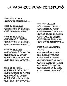 Spanish story for kids. la-casa-que-juan-construyó-cuentos acumulativos