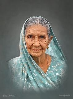 Portrait painting of an old lady created by Oilpixel. Gift uniquely created digital portrait painting masterpieces for your family, friends or that special someone. Digital Portrait, Portrait Art, Portrait Photography, Portraits, People Illustration, Illustrations, Parrot Painting, Beauty In Art, Painting Services