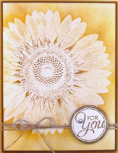 Love how this turned out.  Stampin' Up!'s Sunflower Background Stamp - http://stampandembellish.com/2013/08/wow-sunflower-card/