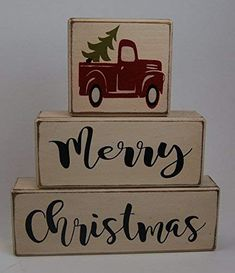 Ready to Ship! NEW Farmhouse Merry Christmas Vintage Truck Christmas Tree - Primitive Country Wood Stacking Sign Blocks Seasonal Christmas Winter Snowman Home Decor: Handmade - Christmas Wood Crafts, Pallet Christmas, Primitive Christmas, Christmas Signs, Christmas Art, Christmas Projects, Winter Christmas, Holiday Crafts, Vintage Christmas