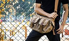 Gootium Vintage Canvas Messenger/Shoulder Bag Men's, 32 cm, Army Green: Amazon.co.uk: Luggage