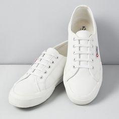 White Leather Superga Plimsolls | The White Company US