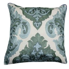This embroidered Arabic damask throw pillow, with its tones of green, is beautiful as well as practical. It is made of cotton, down and feathers for comfort.