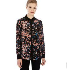 ST846 New Fashion Ladies' black Vintage birds Floral print blouses elegant long sleeve Shirt casual slim brand designer tops $12.35