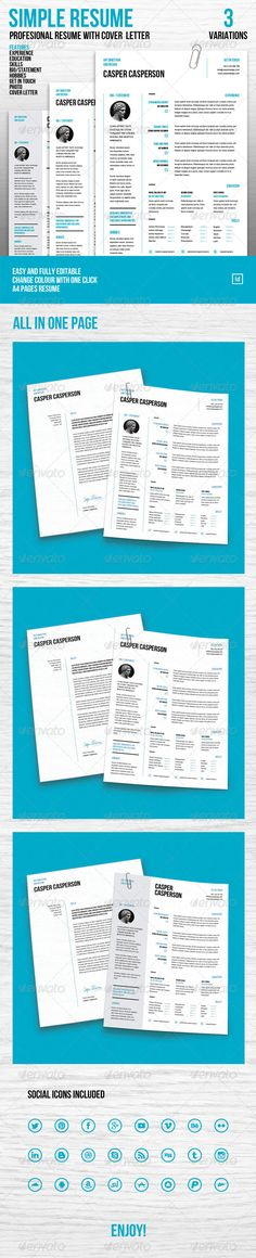 Clean Resume\/Cv Resume cv, Resume cover letters and Stationery - simple resume cover letter