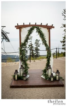 Unique Arch at Lakeview Lodge reception venue at Heavenly Mountain Resort, CA #mountainweddings Theilen Photography, www.theilenphoto.com http://www.iconicweddings.com/Destinations/Heavenly.aspx