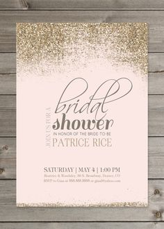 Blush and Gold Bridal Shower Glitter Invitation 5x7 by GaiaDesignStudios on Etsy