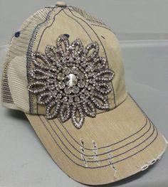 0bffd3b9 Envy Olive Pique Rhinestone Mesh Trucker Bling Hat Khaki Color Flower Bling  Destructed Design Grinded Color-Changing High-Quality Rhinestone Applique  ...