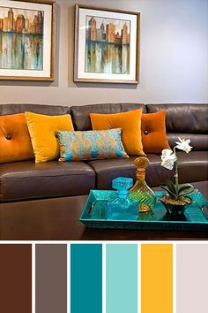 Living Room Color Schemes to Make Your Room Cozy . √ 28 Living Room Color Schemes to Make Your Room Cozy . 25 Gorgeous Living Room Color Schemes to Make Your Room Cozy Living Room Decor Brown Couch, Living Room Decor Colors, Colourful Living Room, Living Room Color Schemes, Cozy Living Rooms, Living Room Designs, Blue And Brown Living Room, Living Room Ideas For Brown Furniture, Living Room Color Combination
