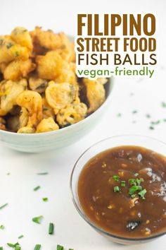 Try these Vegan Fried Fish Balls that are delicious, crunchy, and dipped in a spicy and sweet sauce that will take you back to the streets of the Philippines! Filipino Street Food, Vegan Fries, Filipino Desserts, Sweet Sauce, Fried Fish, Philippines, Balls, Spicy, Curry