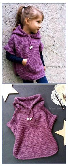 Pull Crochet, Crochet Girls, Crochet For Kids, Free Crochet, Crochet Hats, Crochet Children, Crotchet, Kids Patterns, Easy Crochet Patterns