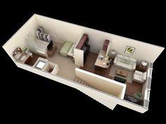 Departamentos pequeos planos y diseo en 3D Studio apartment