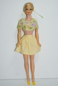 1968 platinum blond long hair right side ponytail with spit curl Twist N Turn Stacey Doll in OSS with TNT waist Mattel 1165 Barbie - British Mod - Era GORGEOUS! #Mattel #DollswithClothingAccessories