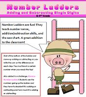 Number Ladders are fun! They teach number sense, addition/subtraction skills, and the 100 chart all in one. A great addition to the classroom! Math Addition, Addition And Subtraction, Math Stations, Math Centers, Math Resources, Math Activities, Family Math Night, Math Subtraction, Multiplication