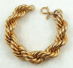 Napier Thick Gold Rope Bracelet Garden Party Collection Vintage Jewelry