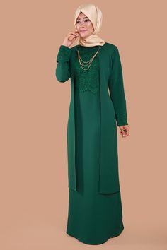 Dantel Detay İkili Takım Elbise YGS5092 Zümrüt