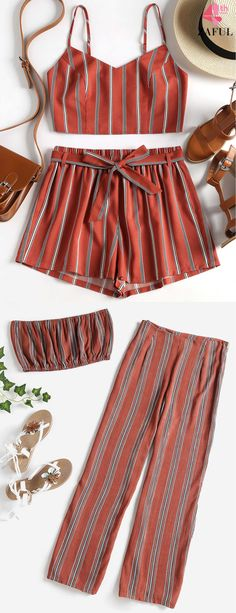 Striped Bandeau Pants Set. Relaxed in fit, cool in style, this casual two-piece set includes a bandeau top and pants. Trendy top features allover vertical striped pattern, while the striped pants emphasize a flattering high waistline, modern slits detail, and the concealed zipper closure at side, in a loose wide-leg shape. #zaful #jumpsuit #outfits