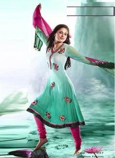 Light Turquoise Latest Designer Casual Wear Anarkali Salwar Suit  http://www.angelnx.com/Salwar-Kameez/Anarkali-Suits#/sort=p.date_added/order=DESC/limit=32/page=12