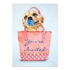 Purse Puppy Baby Shower Invitations