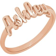 Custom Rose Gold Vermeil Script Name Ring - tap, personalize, buy right now! Name Rings, Gifts For Teens, Rose Gold Plates, Personalized Jewelry, Fashion Rings, Jewelery, Script, Monogram, Sterling Silver