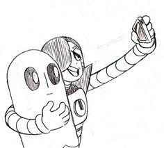 Mettaton taking a selfie with Napstablook. by lu-audrey