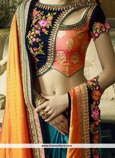 Cherubic Navy Blue And Orange Embroidered Work Satin Designer Half N Half Saree