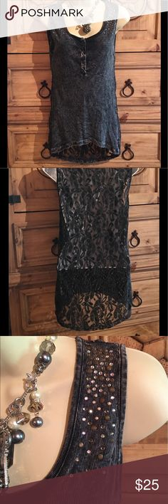 AMERICAN AGE Top Beautiful Hi/Low Dancin' Top!🔸Bling on the front which is a soft knit🔸Lace back🔸See pics for measurements🔸May be a Junior size since it's a L and it fits me🔸EUC American Age Tops
