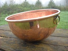 Hammered Fabulous 32 cm Massive Vintage French Copper Mixing Bowl More Than A Foot Across by NormandyKitchen