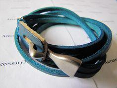 Women or Men Blue Leather Bracelet  with Alloy by braceletcool, $9.00