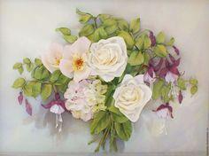 Купить Картина лентами Розы,гортензия и шиповник 40 х 30 см