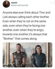 Punch me in the face, it'll hurt less. Thor and Loki, brothers forever.